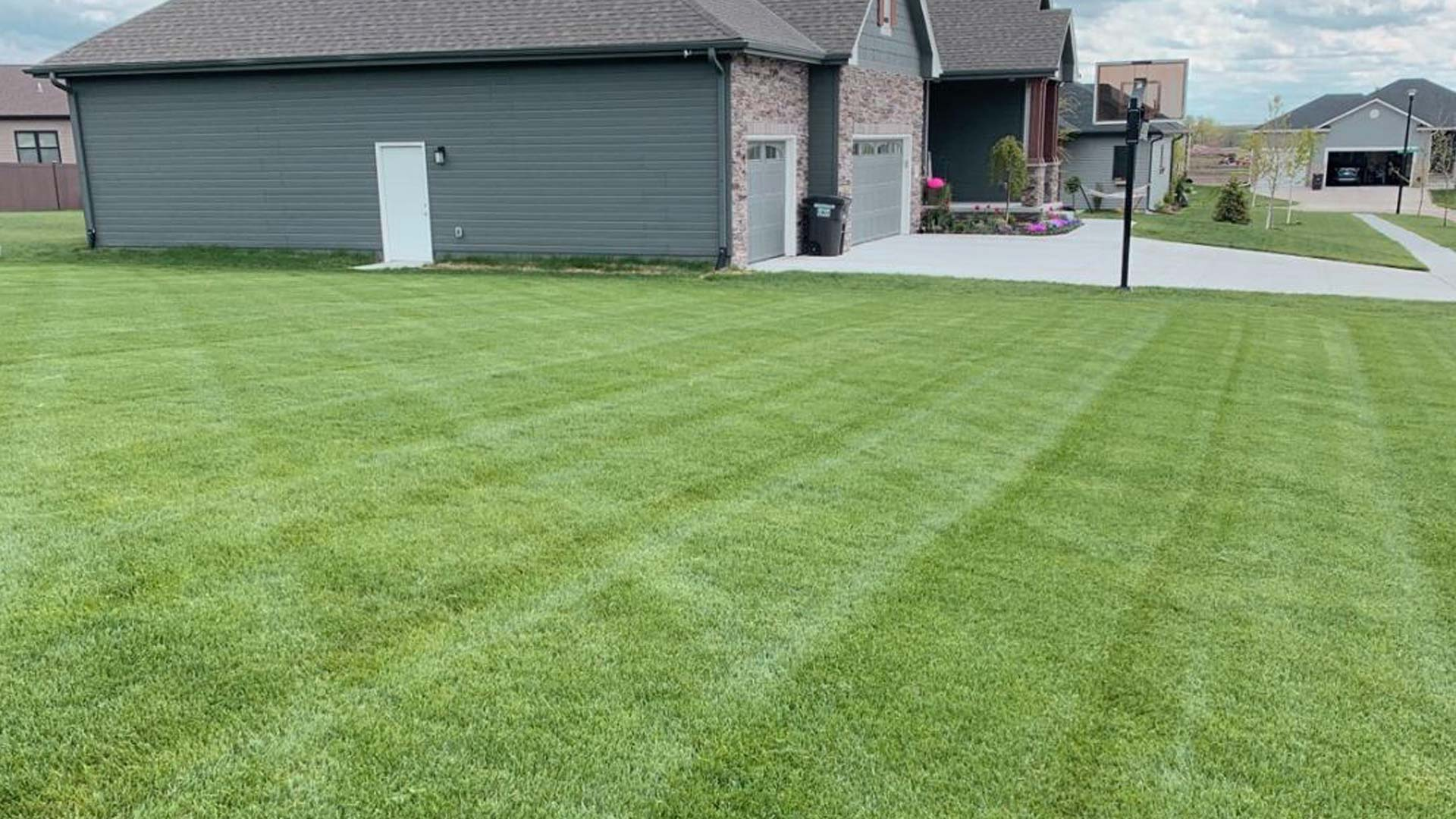 Recently mowed and treated lawn at a home in Lancaster.