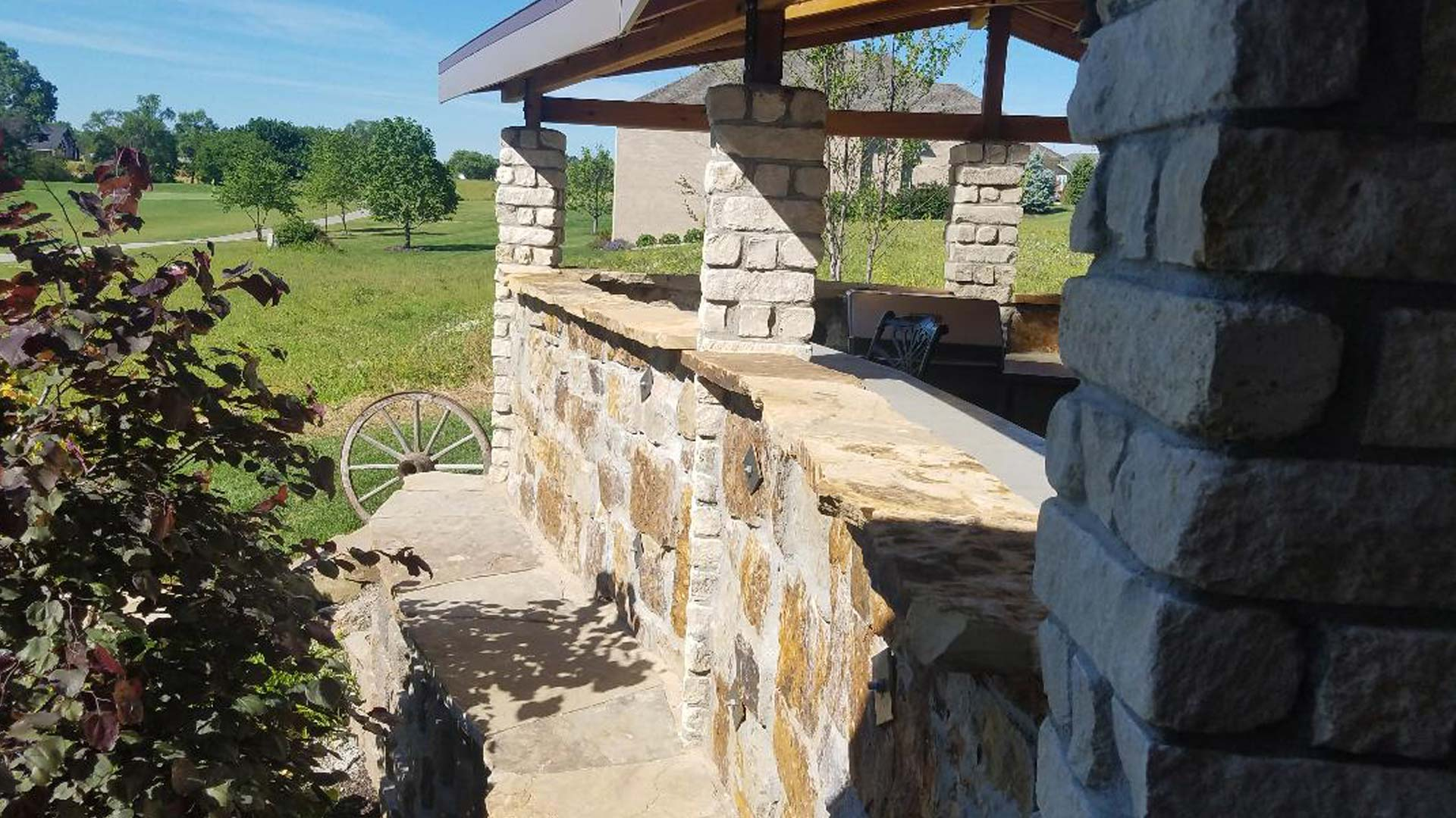The outside walls of an outdoor kitchen that out team built at a home Lancaster County.